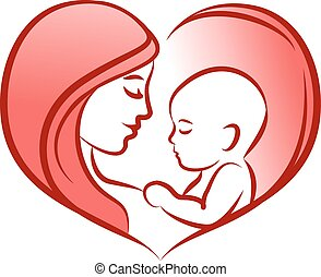 Mother with her baby, heart, outline vector silhouette.