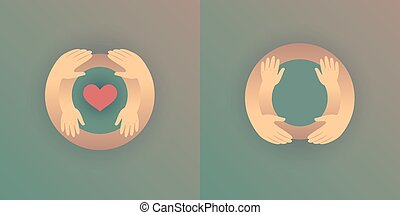 Mother with her baby, outline vector silhouette of hugging hands