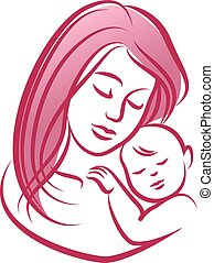 Mother with her baby, outline vector silhouette.