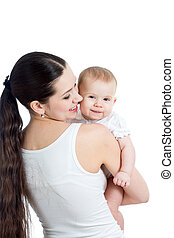 Mother with her child on white background