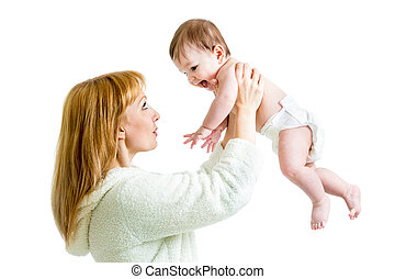 mother with her son baby isolated on white background