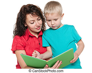 Mother with her son read book