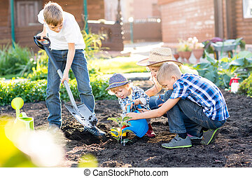 Mother with her sons planting a tree and watering it together in garden