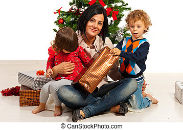 Mother with kids at Christmas