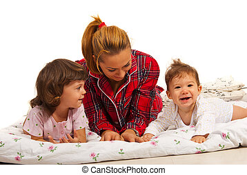 Mother with kids having fun