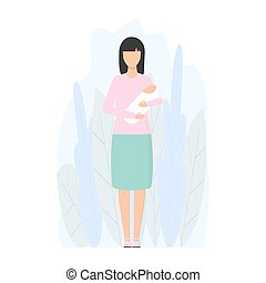 Mother with little child vector isolated