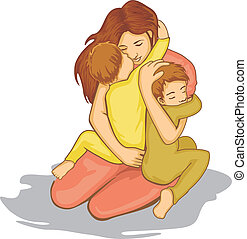 mother with love - mother hugging her childs with love
