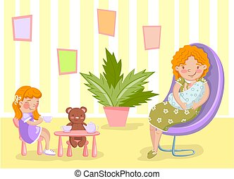 Mother with newborn baby and her daughter in the living room vector Illustration