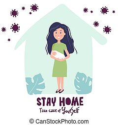 mother with newborn baby at home. Vector illustration in flat style. You can use this for coronavirus concept. Stay home to avoid the spread of coronavirus Covid-19