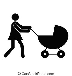 Mother with pram icon
