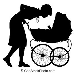Mother with pram silhouette