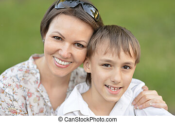 mother with son in park