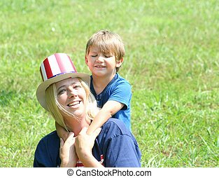 Mother with son on 4th of july