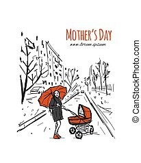 Mother with stoller walking in city park, sketch for your design