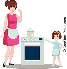 Mother with the daughter cook dough.