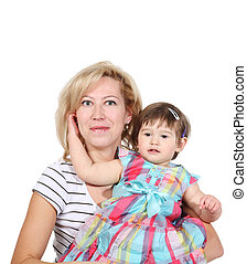 Mother with the small daughter, it is isolated on a white background