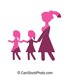 mother with two daughter walking