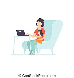 Mother Working at Home on Laptop Computer, Her Daughter Sitting Next to Her, Freelancer, Parent Working with Child, Mommy Businesswoman Vector Illustration