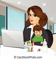 mother working on laptop in cafe