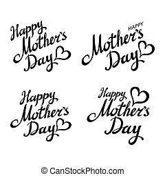 mother's, セット, card., 挨拶, 黒, カリグラフィー, inscription., 日, 幸せ
