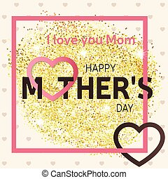 mother's, illustration., 金, 挨拶, ベクトル, 幸せ, きらめき, 日, card.