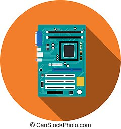 Motherboard and mainboard icon in flat style, vector