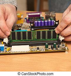motherboard., ariete, maestro, appiccicare