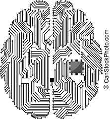 Motherboard brain on white background for technology concept design