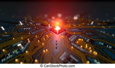 Motherboard Circuit Opener - Hi-tech futuristic motherboard...