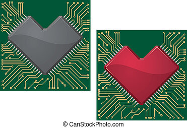 motherboard, coração, lasca