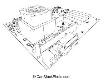 motherboard., cornice filo metallico, render