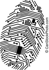 Motherboard fingerprint for security or computer concept design