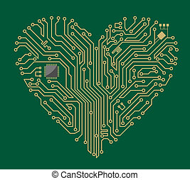 Motherboard heart - Motherboard computer heart for love...