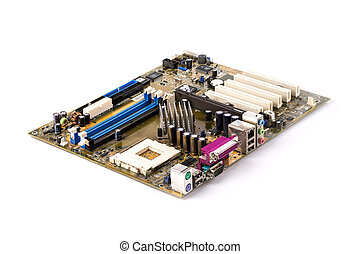 Motherboard of a personal computer close-up