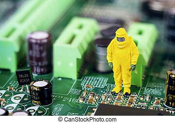 Motherboard repairing or diagnosing concept