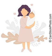 Motherhood and Happy family - happy mom and baby. Young mother stands with a newborn baby in her arms. On the background decorative pattern of tropical leaves and plants. Vector illustration