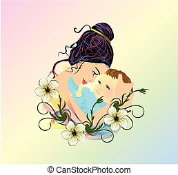 motherhood - composition with mother who holds a child in ...