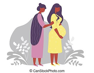 Motherhood. Happy pregnant dark-skinned woman in a yellow dress, tenderly hugs her belly and next to her is a woman mom. on a gray decorative background with branches and plants. Vector illustration