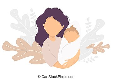 Motherhood. Happy woman with a newborn baby in her arms. On the background decorative pattern of tropical leaves and plants. Vector illustration. Happy family - happy mom and baby. flat illustration
