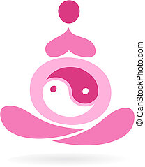 Motherhood icon - 5 - Outline of a pregnant woman with Yin...