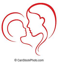 Motherhood love - Mother and child sketch inside heart shape