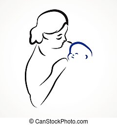 Motherhood - Sketchy vector illustration of a mother with a...