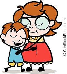 Motherhood - Teenager Cartoon Intelligent Girl Vector Illustration