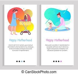 Motherhood Webpage, Mother Caring, Baby Vector