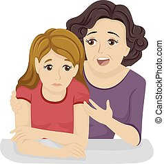 Motherly Advice - Illustration of a Mother Giving Her...