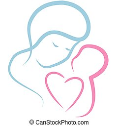 Motherly love concept isolated on a white. Vector ...