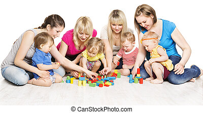 Mothers and Kids Group Playing Toys, Mother With Baby Play Building Blocks over White Background