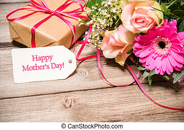 Mothers Day Background - Bunch of flowers and tag with text...