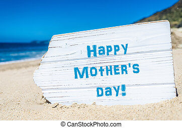 Mother's day background,on the sandy beach