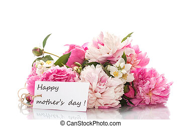 Mother's Day ! - beautiful bouquet of peonies blooming on...